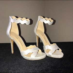 Chinese Laundry Silver Ankle Strap Heels 7.5 NWOT